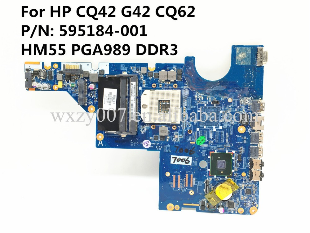 For HP CQ42 G42 CQ62 595184-001 Laptop motherboard DA0AX1MB6H1 HM55 PGA989 DDR3 100% tested