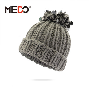 Fashion Korean women s knitted hat Multicolor winter warm beanie with Sequin 737cb6cd156