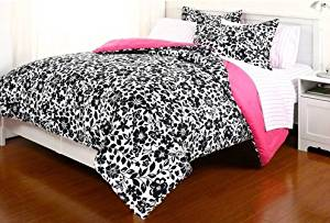 5pc Black White Pink Flower Floral Amelia College Dorm Twin Xl Comforter Set (5pc Bed in a Bag)
