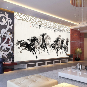 Tier Tapete Wohnzimmer Tv Wand Tapete Wandbild Tinte Acht Pferde Tapete -  Buy Animal Wallpaper,Pferde Tapete,Lobby Tapete Product on Alibaba.com