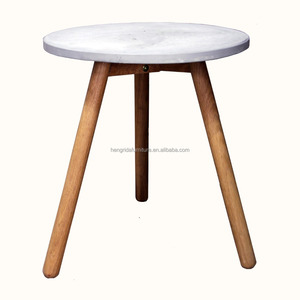scandinavian small round cement top coffee table with solid oak wood legs
