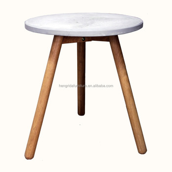 Scandinavian Small Round Cement Top Coffee Table With Solid Oak Wood Legs Product On Alibaba