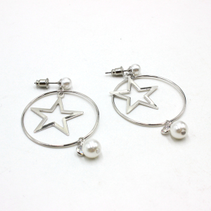 Women Earring 925 Sterling Silver Earring Free Shipping Pearl Jewellery Polished Circle Endless Earrings Hoops with Lovely Star