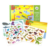 custom logo printing kids Cartoon Animal World removable Acrylic paper Reusable Sticker set