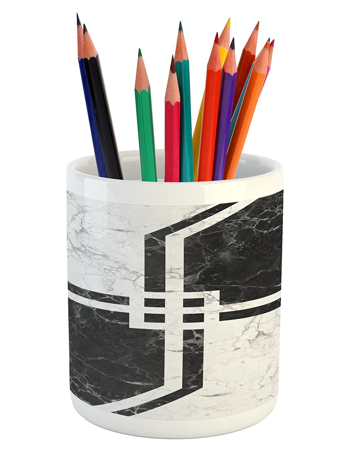 Marble Pencil Pen Holder by Lunarable, Parallel Vintage Bands Motif with Geometric Shapes on Murky Background Print, Printed Ceramic Pencil Pen Holder for Desk Office Accessory, Pearl Black Dust