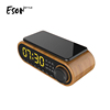 Eson Style 10W wireless fast charge Stereo Music LED digital display clock temperature trending alarm Bluetooth speakers