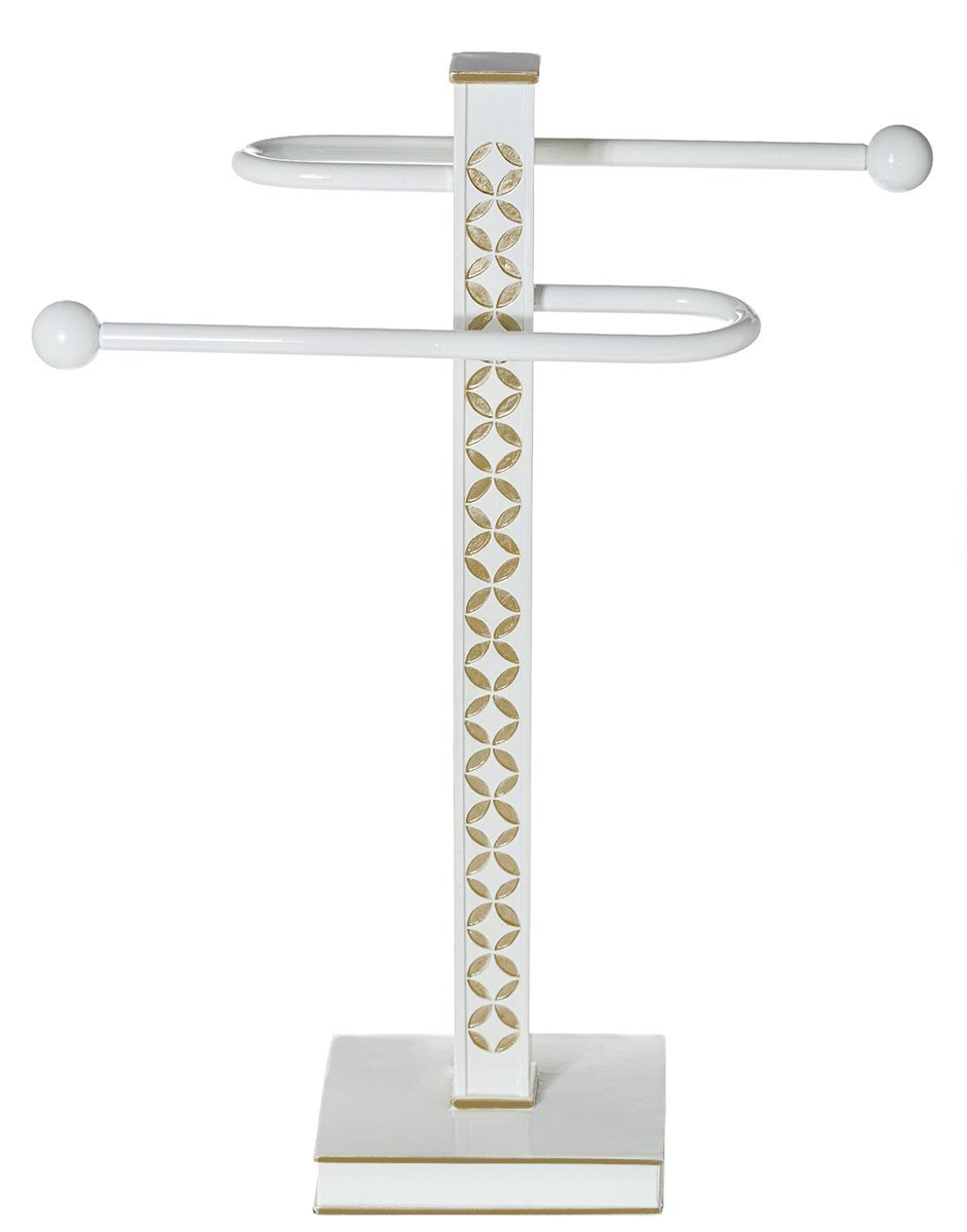 "Diamond Lattice Countertop Towel Stand (13.75"" x 3.5"" x 14.4"") - Decorative Fingertip Towels Holder- Durable Resin Free Standing Rack- For Elegant Counter Top Bathroom/Kitchen Décor"