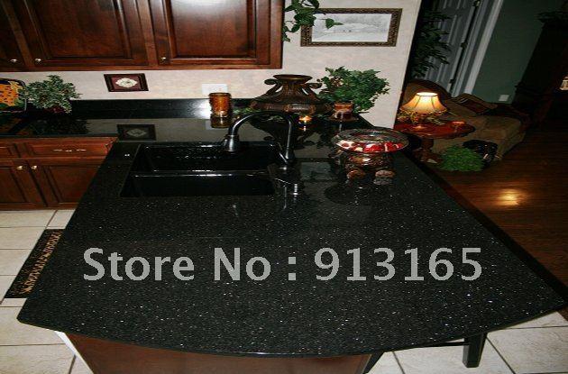 Black Galaxy Granite Countertop+Half Bullnose+fine