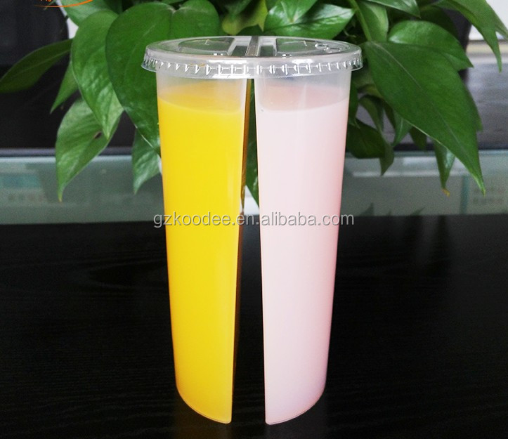 700ml PP Plastic Twins Split cup/Hot and Cold Juice Cups