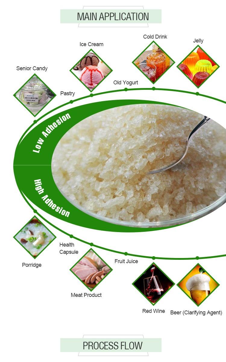 Gıda sınıfı balık jelatin tozu ile yüksek şeffaflık