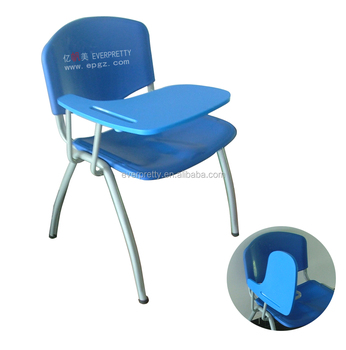 wholesale stackable tablet arm chair study chair with folding writing pad