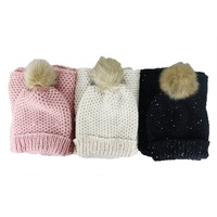 Promotional winter muti color knitted hat with pom pom