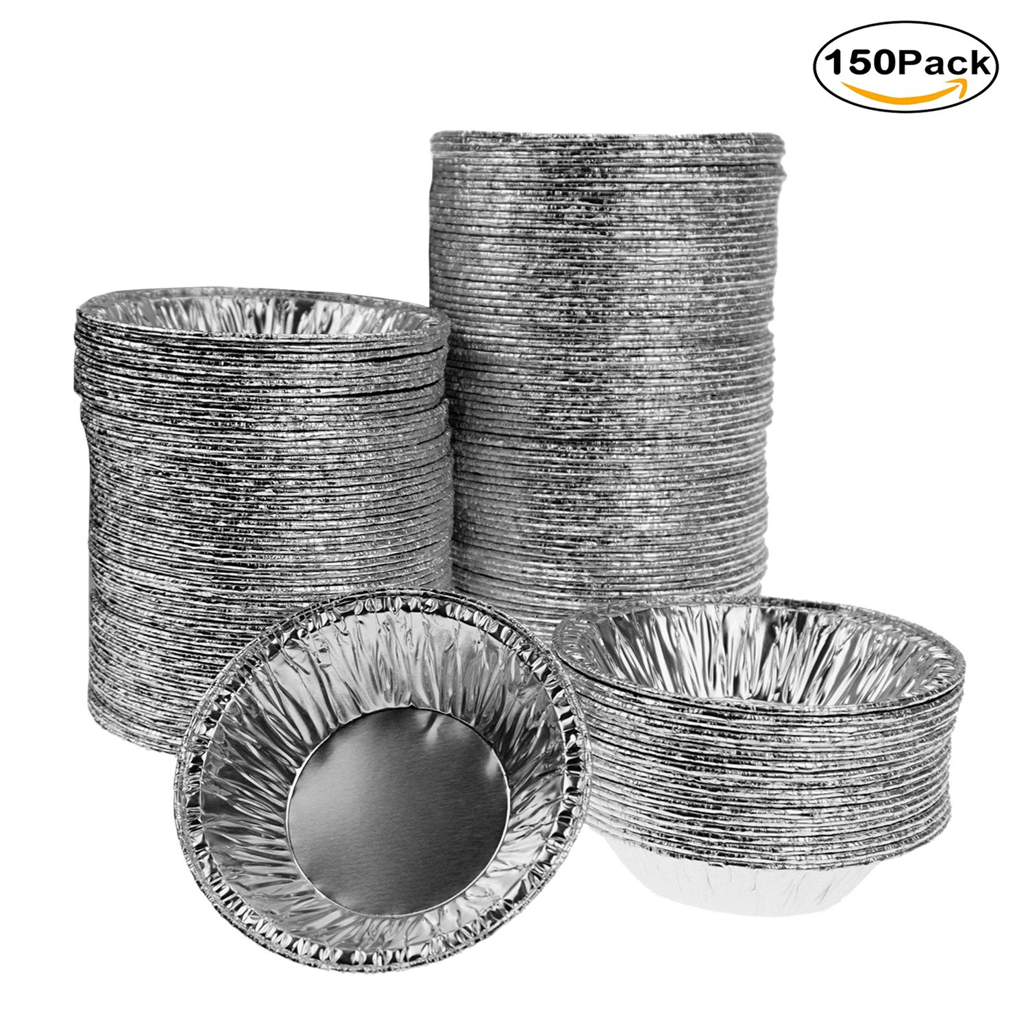 Disposable Aluminum Foil Egg Tart Mold Mini Muffin Pie Cups Pans for Baking Supplies, 150 Counts by Bilipala
