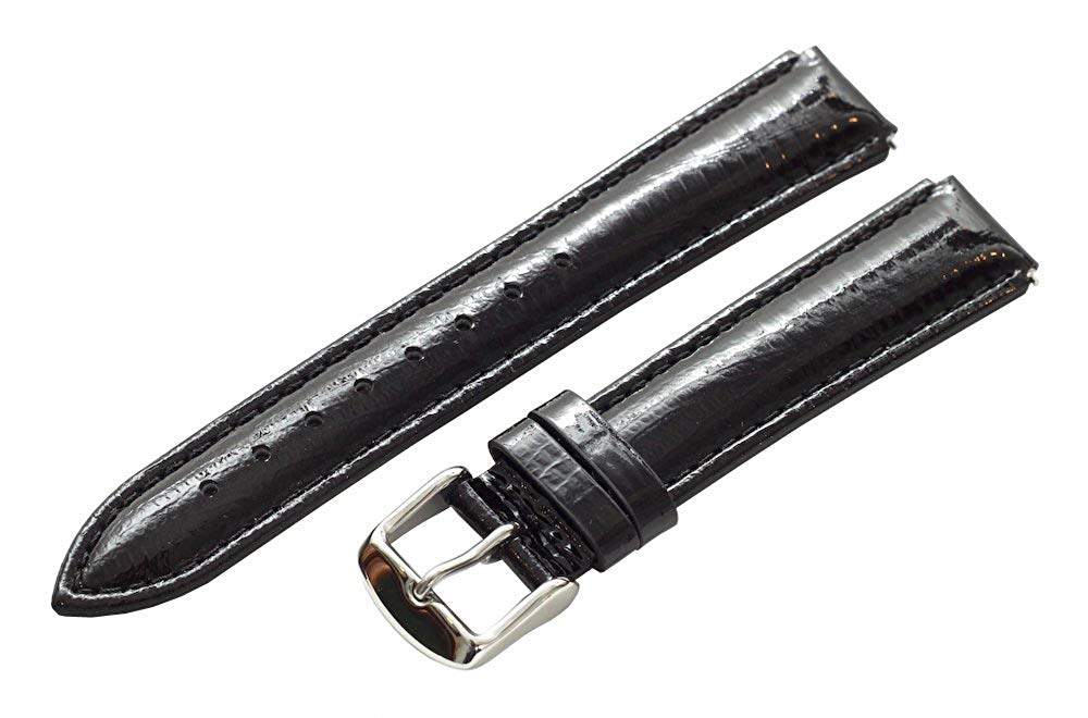 Clockwork Synergy® - 20mm x 18mm - Black Lizard Grain Leather Watch Band fits Philip stein Large