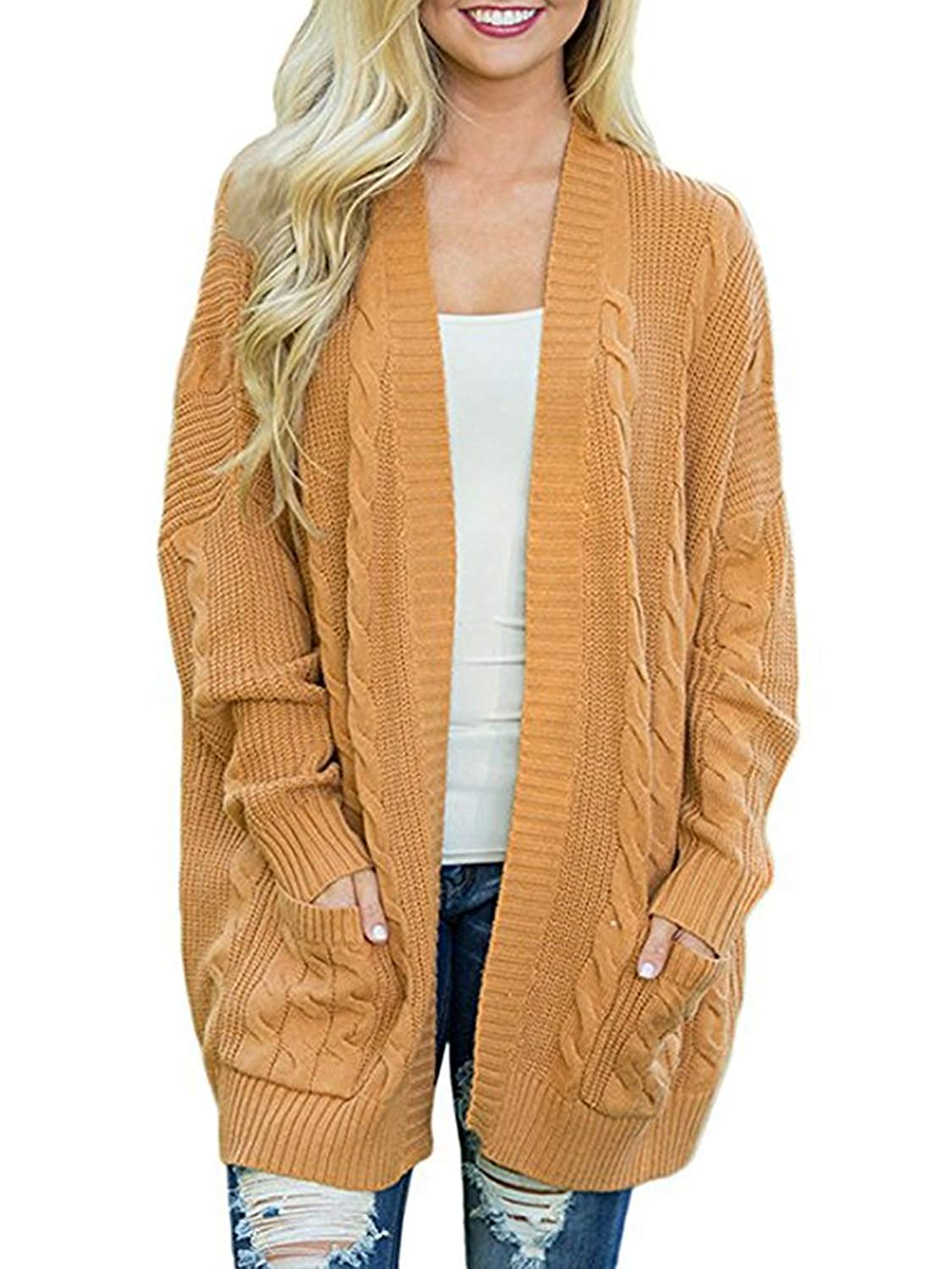 Haloumoning Womens Oversized Sweaters Fall Long Open Front Chunky Cable Knit Cardigans with Pockets