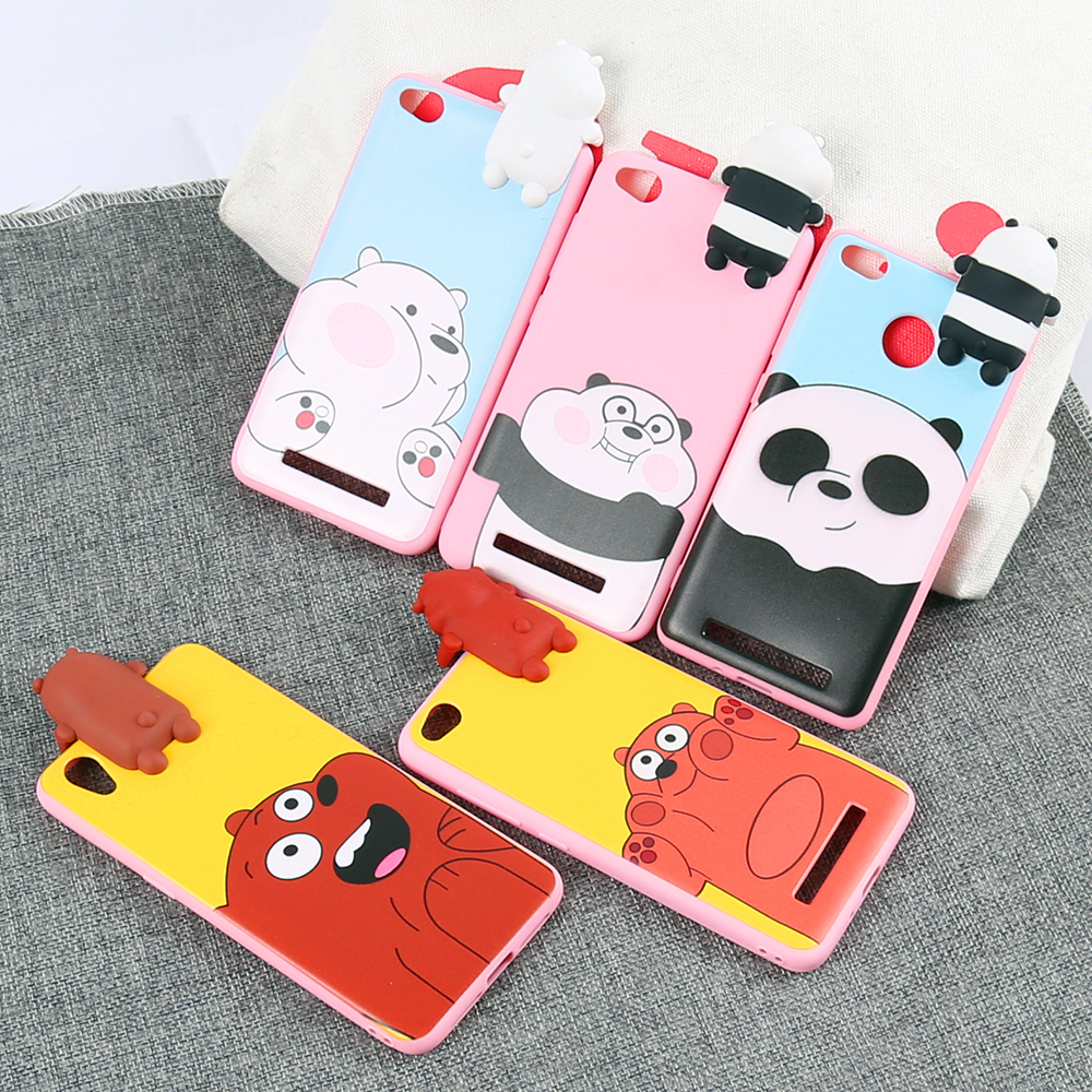 For Xiaomi 4C/5C/5X, Mobile Phone Accessories for girls,Lovely Toys Cute 3D Panda Bear Cartoon Soft TPU Kawaii Phone Case