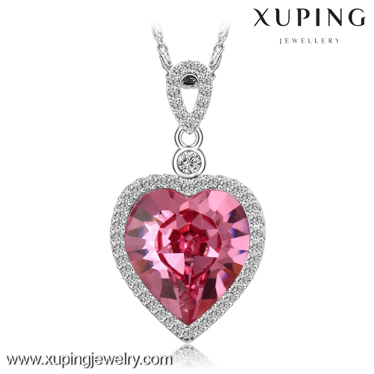xuping fashion necklace jewelry, crystals from Swarovski silver heart necklace, big jewellery rose large stone necklace