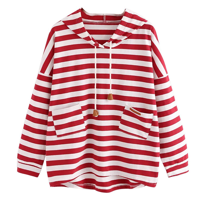 Clearance!Dressin_Women's Casual Stripe Sweatshirt Crop Jumper Pullover Long Sleeve