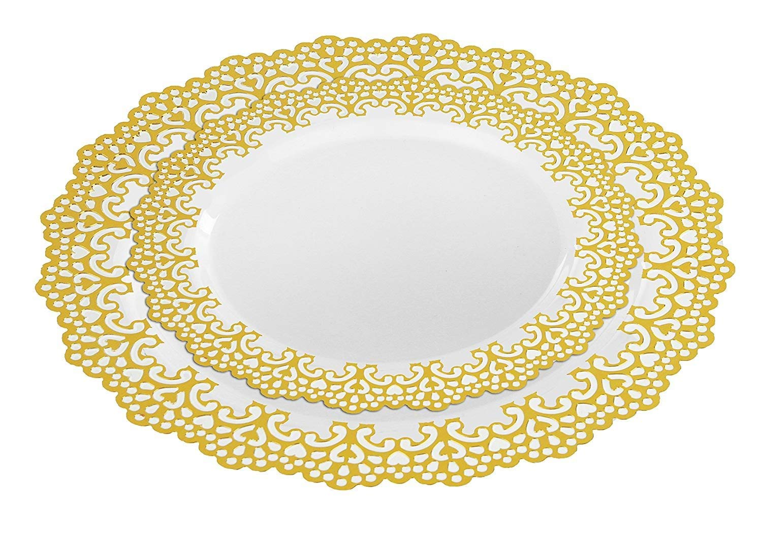 "160 Piece (80 Guest) Disposable Plastic Plates, Hard and Reusable, Real China Look - Party Package Set - Includes 10"" inch Dinner Plates and 7.5"" inch Salad/Dessert Plates (Gold, 160 Piece Bulk Set)"