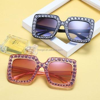 Women/'s Luxury Square Vintage Retro Floral Design Rhinestone Crystal Sunglasses