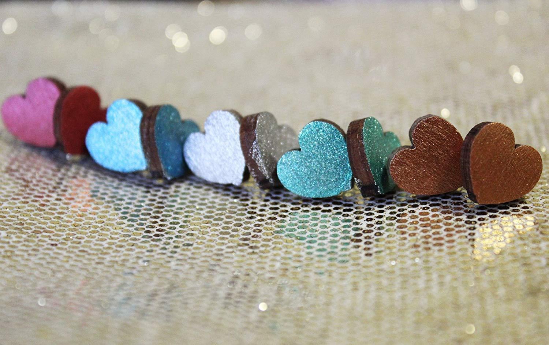 Set of Adorable Handmade Earrings, 5 Pairs Set, Nickel Free and Hypoallergenic, 12mm Cute Heart-Shaped Stud Earrings