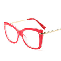 2017 Red Color Latest Design Spectacle Stylish Square Eyeglass Frames