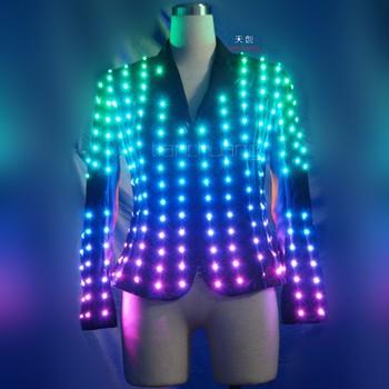 Wireless Dmx512 Led Light Up Video Screen Fasion Disco Jacket Costume