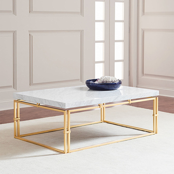 Madrid Marble Top Coffee Table Steel Base Finished In Gold Accent Living Room Furniture