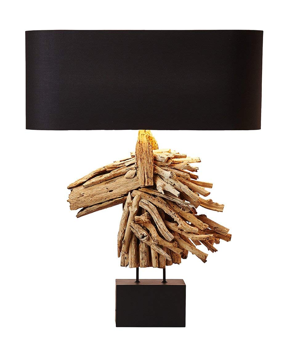 O'THENTIQUE Driftwood Table Lamp | Horse Head Design; Natural Rustic Reclaimed Large Wood Sculpture | Black Cotton Shade Perfect Console Lamp for Entry Way, Bedroom, Living Room, Beach House, Cabin