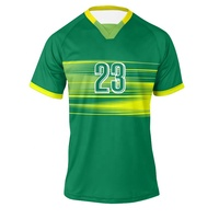 2019/20 Latest Plain Blank Green Yellow Soccer Uniform Design Dye Sublimation Team Kits Canada Soccer Jersey