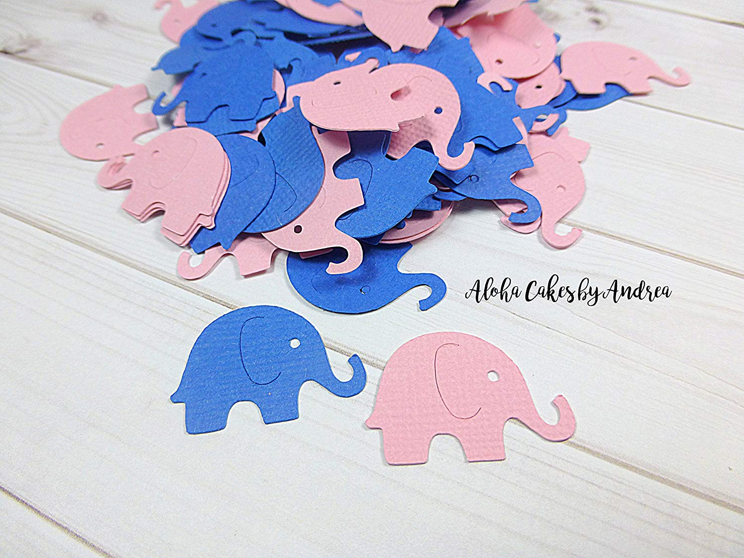 Elephant Confetti, Royal Blue and Light Pink, Baby Shower Decorations, Gender Reveal, Little Peanut Baby Shower, Elephant Die Cut, 1 inch, Small Elephants, Twins Shower, package of 100