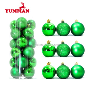 Hand painted decorative glass green christmas tree balls