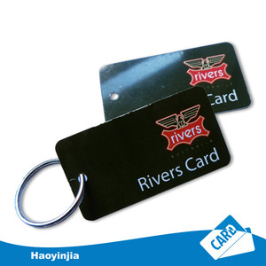 Hole Punched PVC printed key ring card Plastic Key Chain