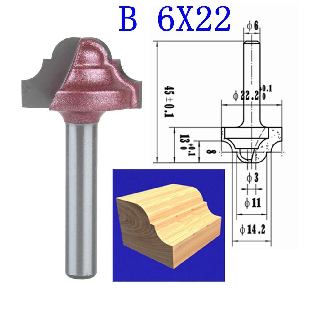 HOZLY B-6x22mm(ShankxBlade Width)3D Lace Woodworking CNC Engraving Machine Milling Knife,Wood Cutter Router Bit Knives