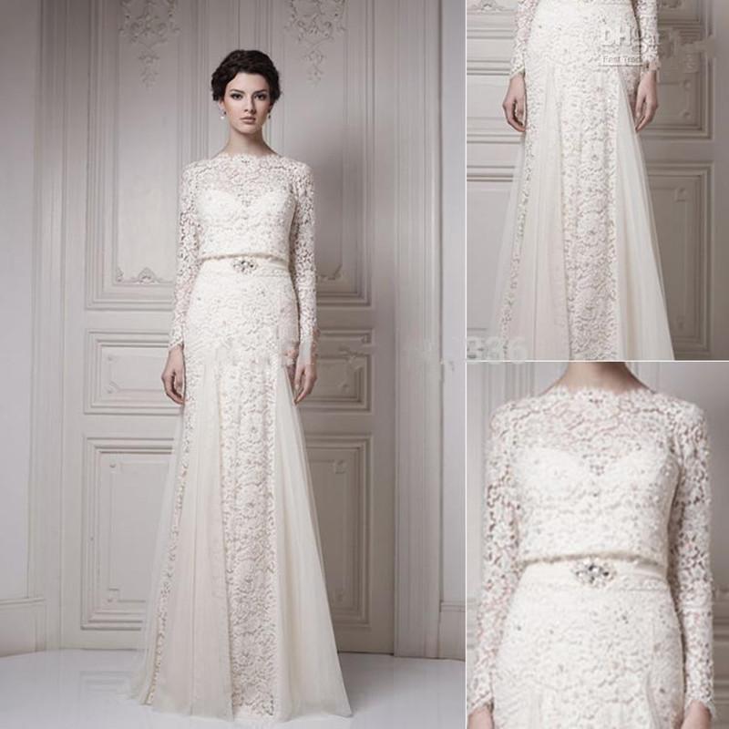 Elegant Long Sleeve Wedding Dresses Muslim Dress 2015: Romantic Limited 2016 New Vintage Wedding Dresses With