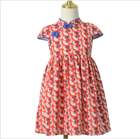 2019 Summer Kids Wholesale Chinese Cheongsam Style Short Sleeve Print Slim Dress For 4-8Y Girls
