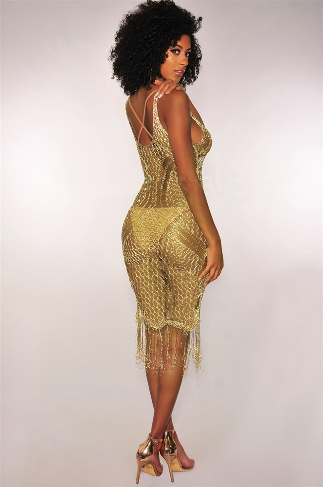 sexy hallow out beach dress gold sequin sex dress club factory