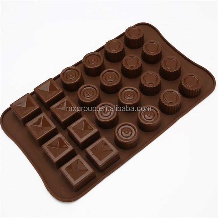 Microwave Oven Baking tool silicone chocolate molds,Jelly pudding ice cube tray 24 cavity square round silicone chocolate molds