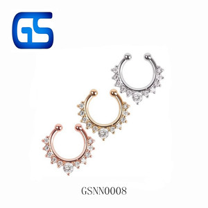 Golden Plated Imitated Diamond Stealth Openings Septum Nose Ring Wholesale