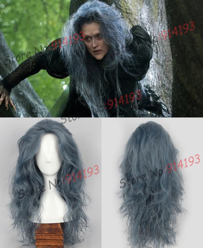 Free Shipping New Movie Into The Woods Long Wavy Grey
