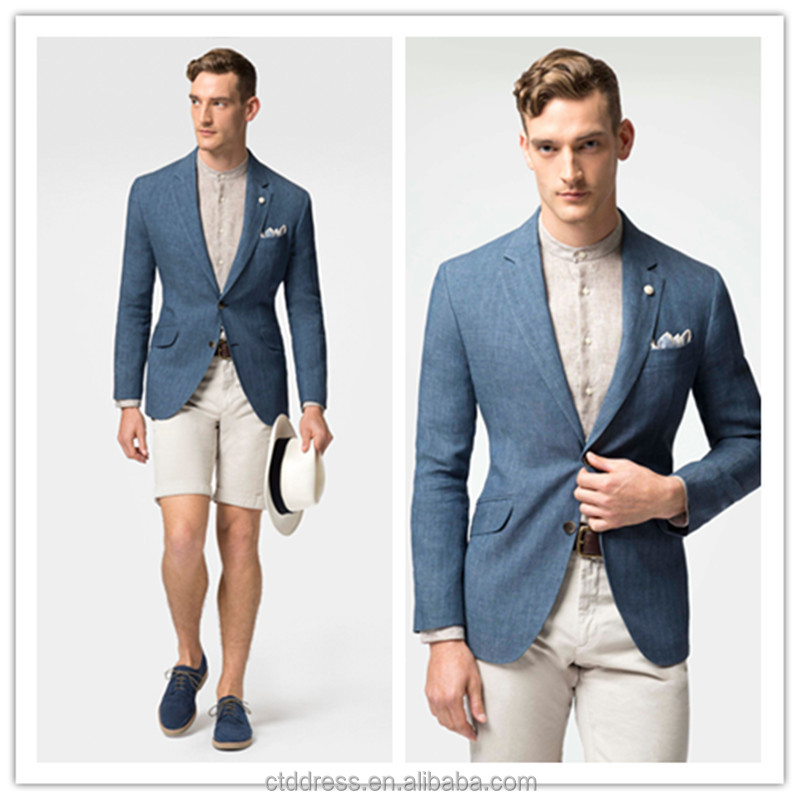 Welp 2015 New Spring Style 100% Linen High Quality Jean Blue Mens Suit WQ-33
