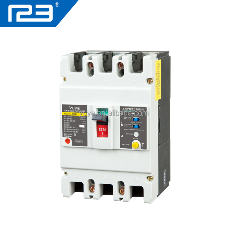 yem1l 3 phase 4 wire moulded case earth leakage circuit breaker