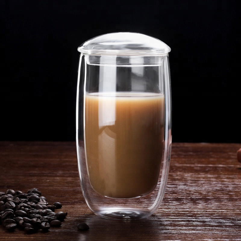 Alibaba.com / Double wall glass cup borosilicate coffee mug glass tea cup  with glass lid