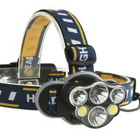 COB LED Headlight +T6 Rechargeable Headlamp 8-Mode Waterproof Flashlight with USB Charge+18650 Battery for Camping