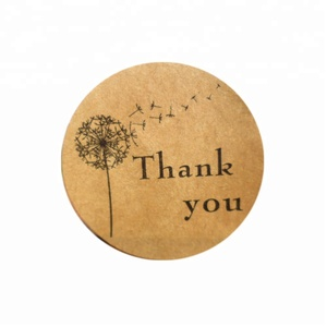600pcs/pack icraft Round Thank You Kraft Paper Seal Stickers, Dandelion Paper Label Self Adhesive Sticker Packaging Label
