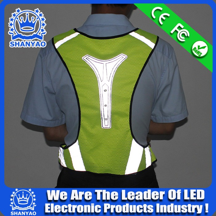 Lighting up in dark keep safe LED flashing reflective running vest