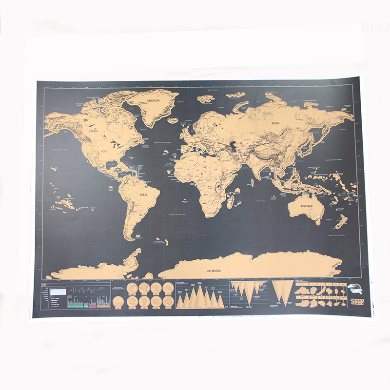 250g Carta Patinata Materiale e 82.5*59.4 cm Formato Scratch off mappa del mondo