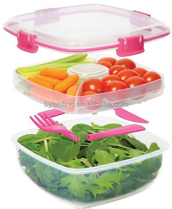 Free Double Layer Collapsible Food Storage Containers With a fork and a spoon