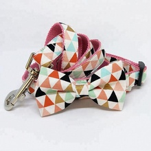 Geometry Pattern Dog Collar , Dog Leash , Triangle Pattern Pink Dog Collar with Bow