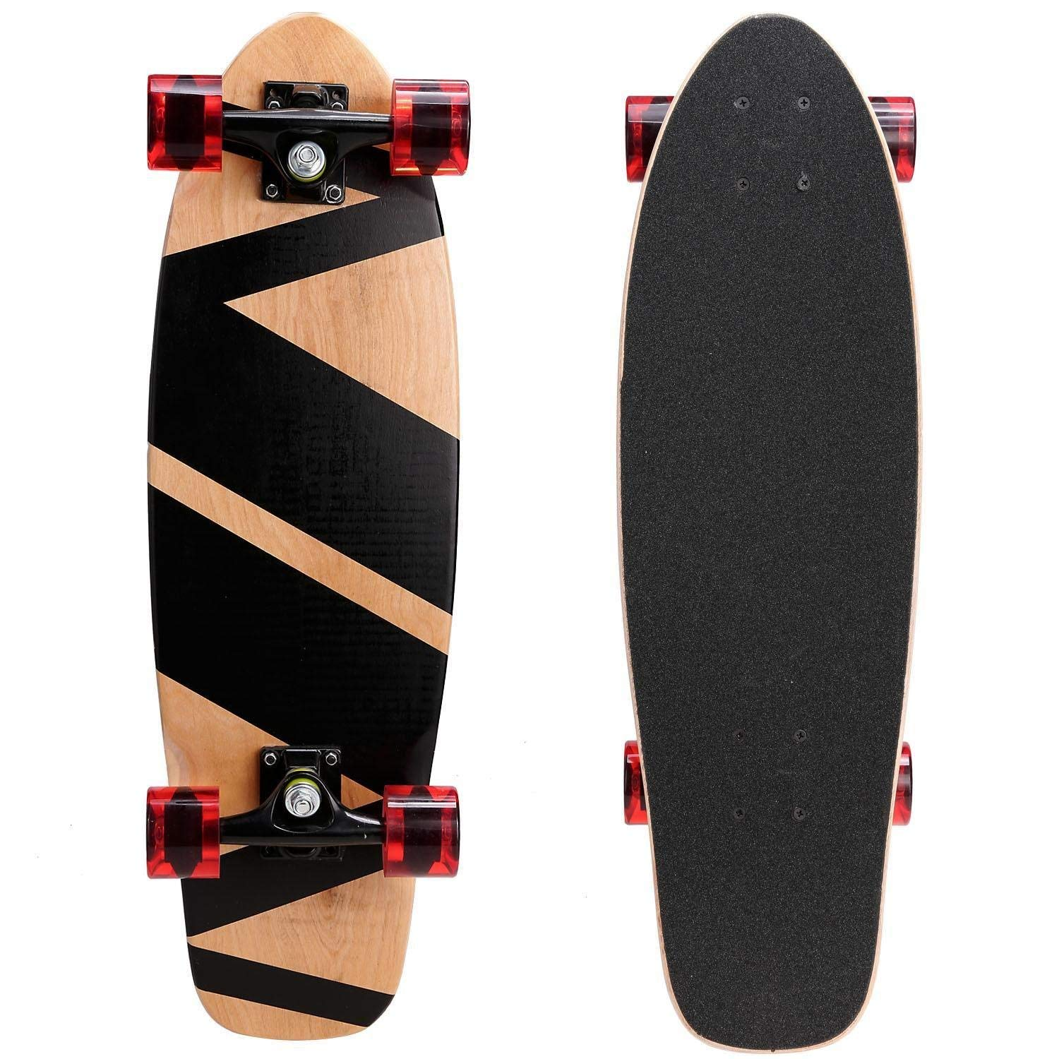 c62338ace2 Get Quotations · Keland Outdoor 27inch 9 Layers Maple Wooden Deck Skate  Board Cruiser Skateboard for Children Adult